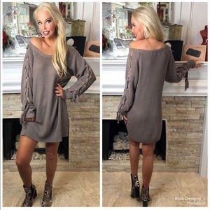 Lace-up sleeve mocha sweater dress